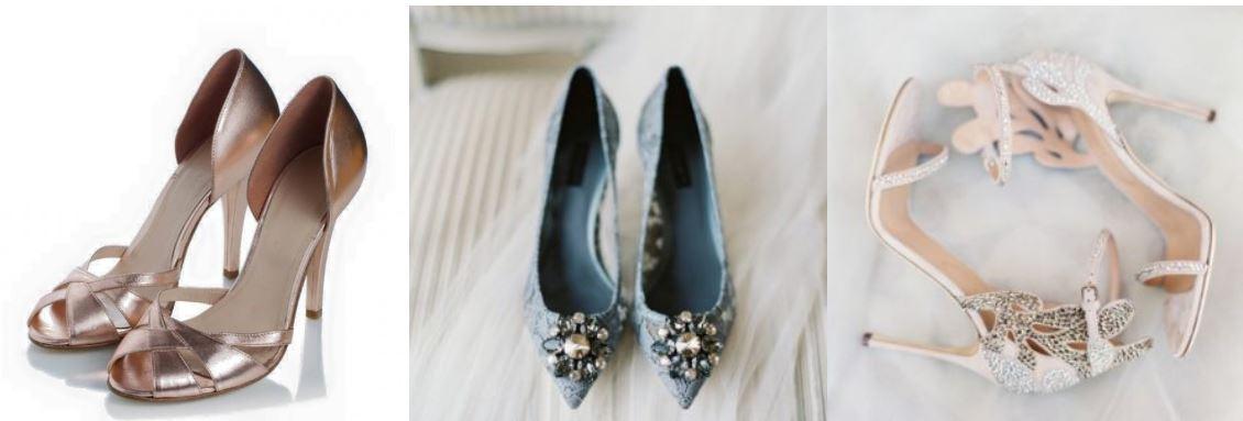 esküvői ruha és cipő